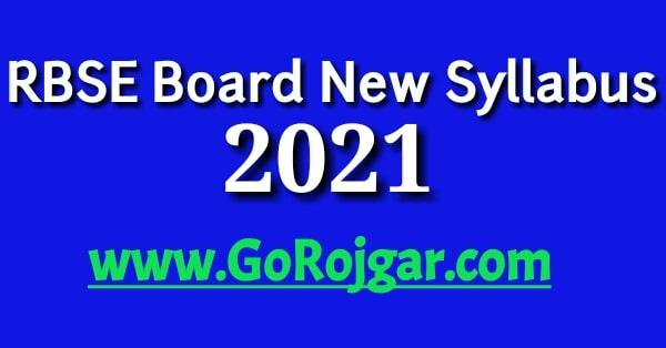 RBSE Board New Syllabus 2021 Rajasthan Board 10th 12th Exam Pattern 2021