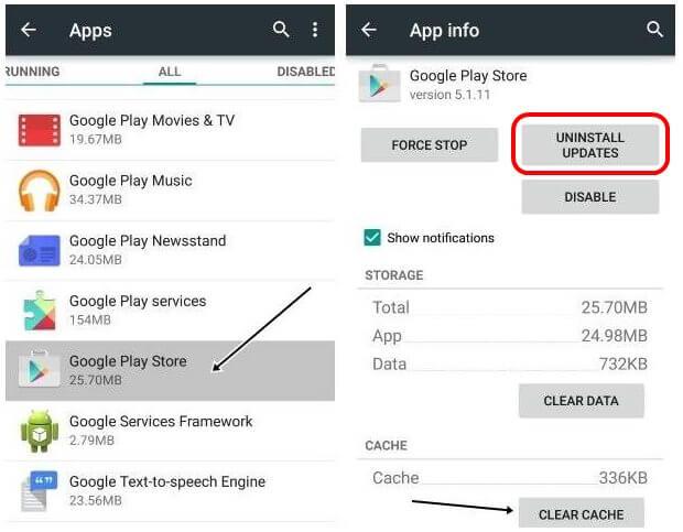 Hapus Pembaruan Aplikasi Google