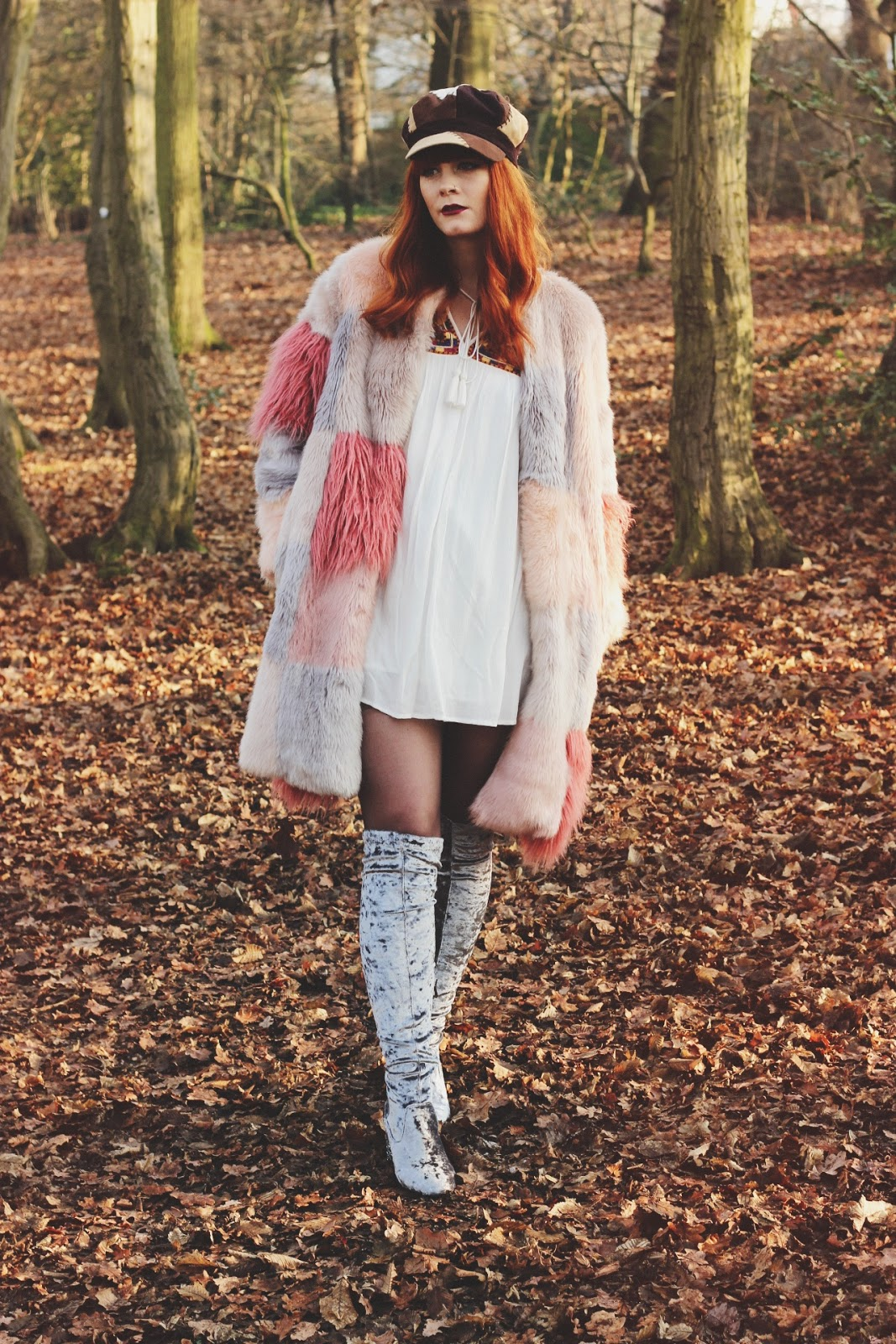 ASOS Faux Fur Pastel Coat Fashion Blogger Fox & Feather