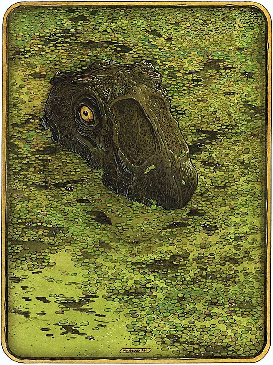 a William Stout 1981 illustration of a tyrannosausus rex lurking in marsh wetlands
