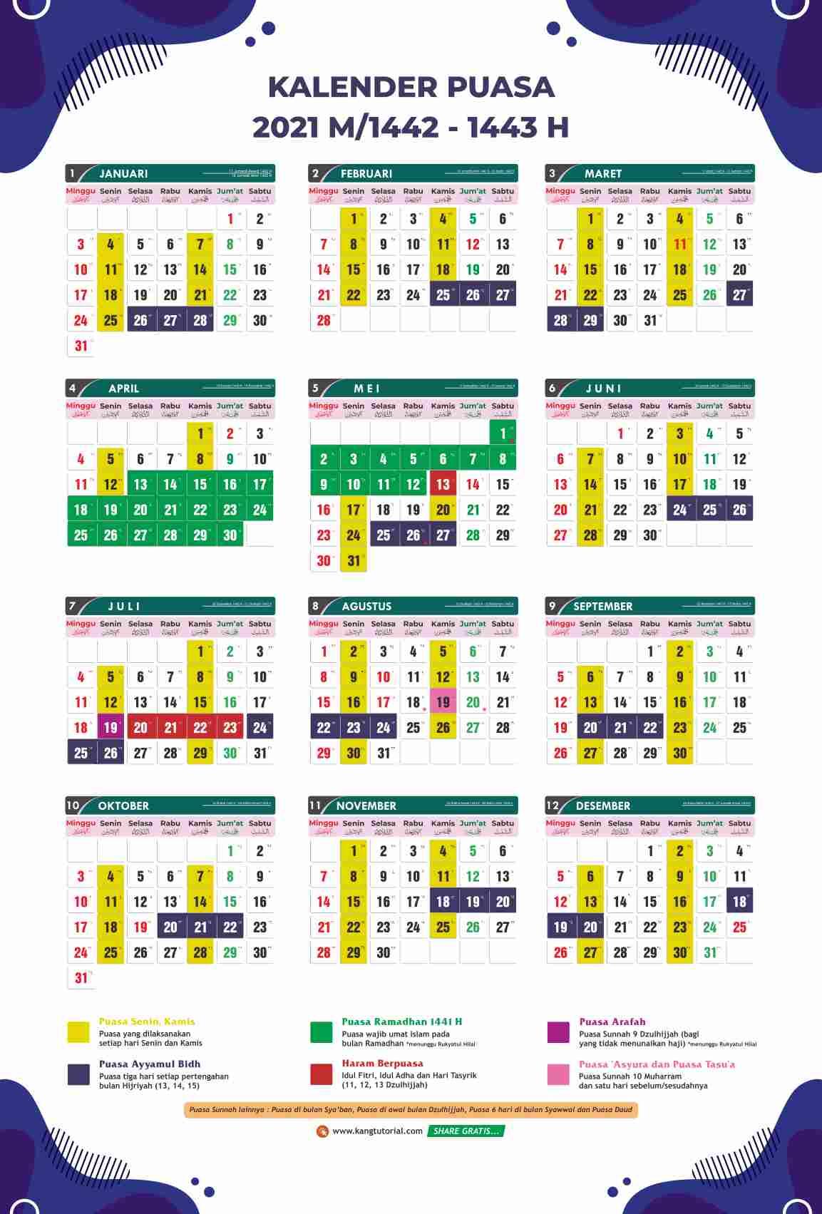 Download Kalender Puasa Tahun 2021