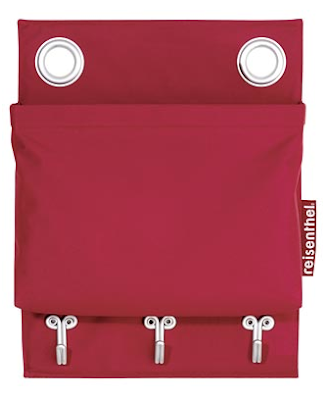 single pocket for wall, red, with hooks