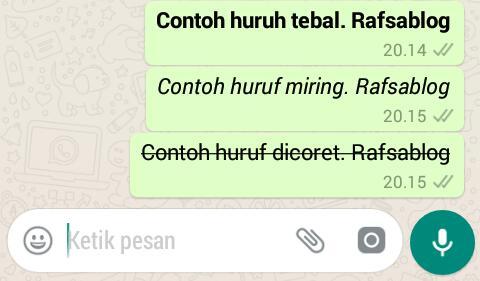 Cara Membuat Huruf Tebal, Miring, Dicoret di WhatsApp