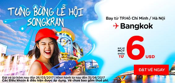 Tưng bừng lễ hội SongKran cùng Air Asia giá chỉ từ 6 USD