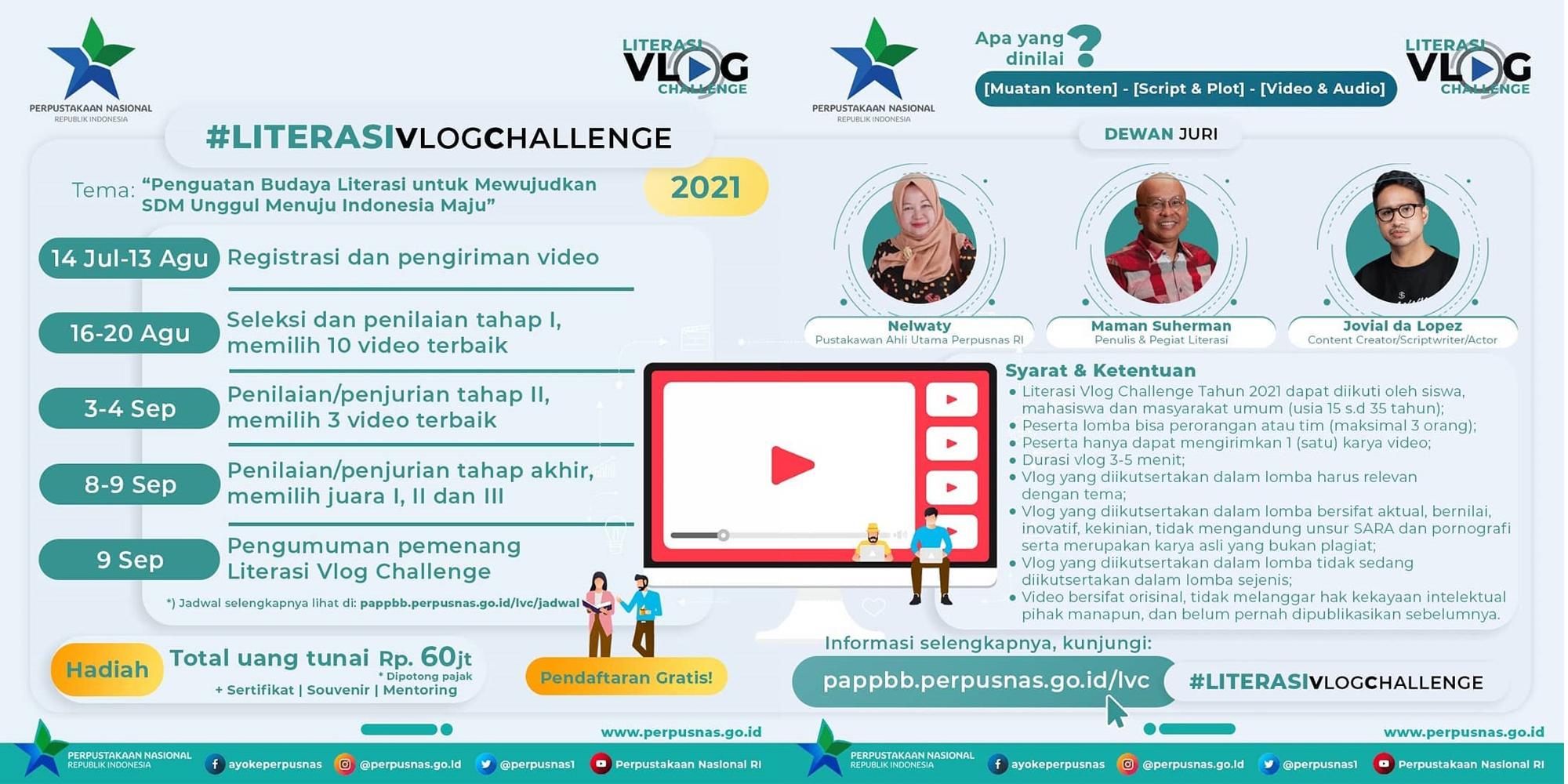Lomba Vlog Literasi Berhadiah Total 60 Juta Rupiah oleh Perpusnas