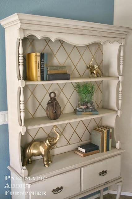 Old Dresser Hutch Turned Bookshelf