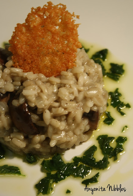 Portabello Risotto with Sage Dressing and Parmesan Crisp on Anyonita Nibbles