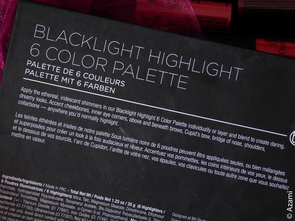 BH Cosmetics | Blacklight Highlight Palette - Spotlight - Blue Green Pink Gold White Purple Highlighter - Review & Swatches - Avis - Paris & London Makeup Artist & Blogger
