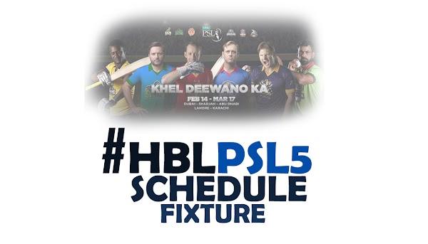 Pakistan Super League (#PSL5) Schedule, Team, Venue, Time Table, PDF, Point Table, Ranking & Winning Prediction.