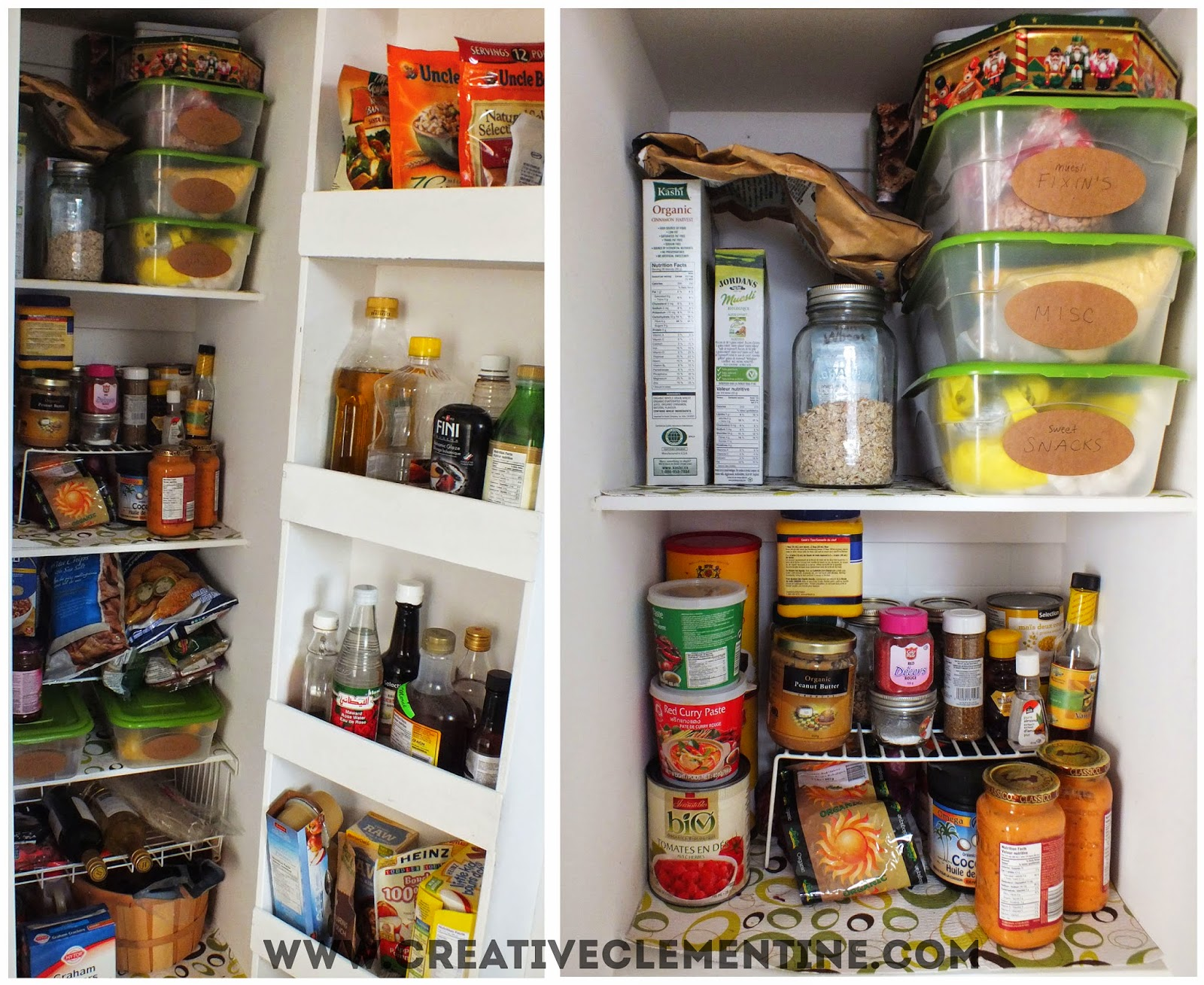 Real life messy pantry via CreativeClementine.com