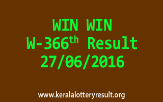 WIN WIN Lottery W 366 Result 27-6-2016