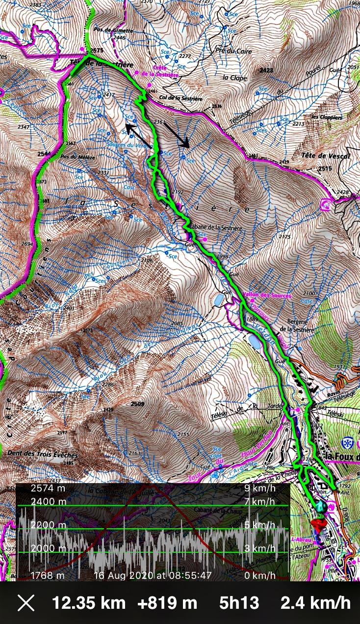 Tête de la Sestrière hike track