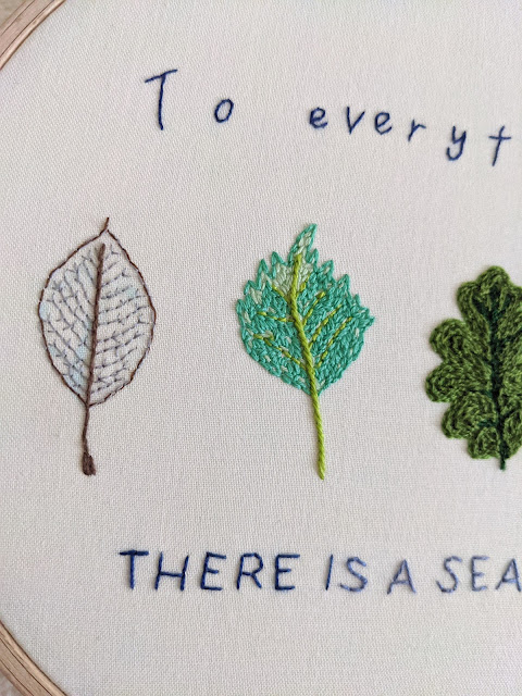 embroidered leaves and text