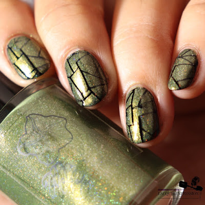 Nail stamping polish swatch of holographic pink olive green polish Florida Fall by Moonflower Polish