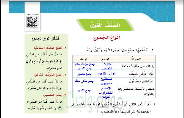 حل درس أنواع الجموع لغتي للصف الخامس ابتدائي
