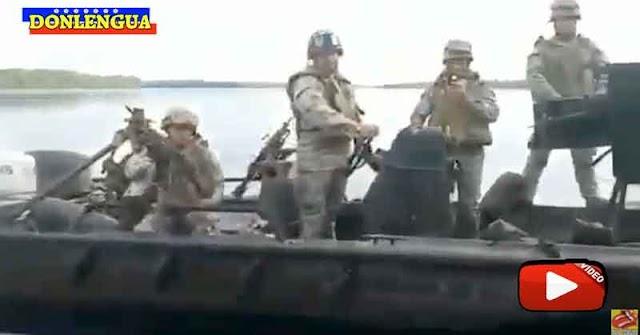 Militares venezolanos matraqueando en aguas colombianas sorprendidos por militares de ese país