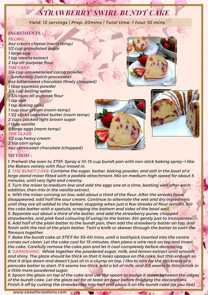 STRAWBERRY SWIRL BUNDT CAKE RECIPE
