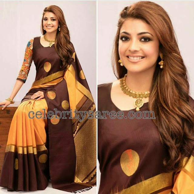 Kajal Agarwal in Simple Silk Sarees1
