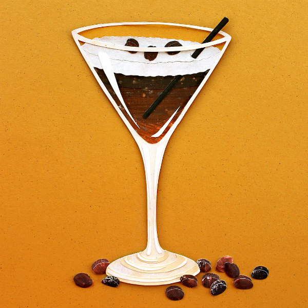 Espresso Martini Paper Cut Illustration