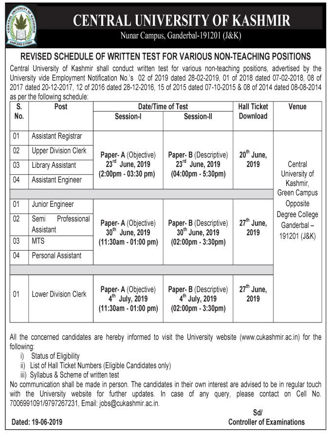Revised schedule of Written Test for various Non-Teaching positions - Central University of Kashmir