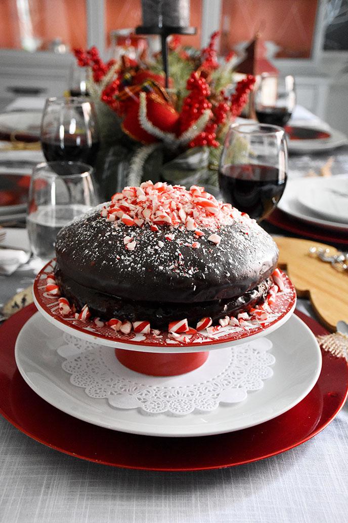 Simple Candy Cane Chocolate Cake With Fudge Icing (vegan recipe)