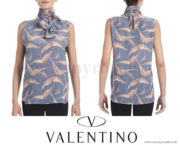 Princess Madeleine wore Valentino Printed Silk Tie-Neck Top