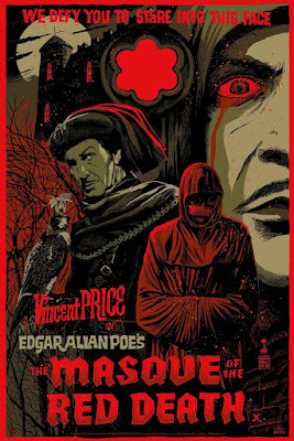 """The Masque of the Red Death"" Vincent Price Screen Print by Francesco Francavilla x Mad Duck Posters - Blood Splatter Red Foil Edition"