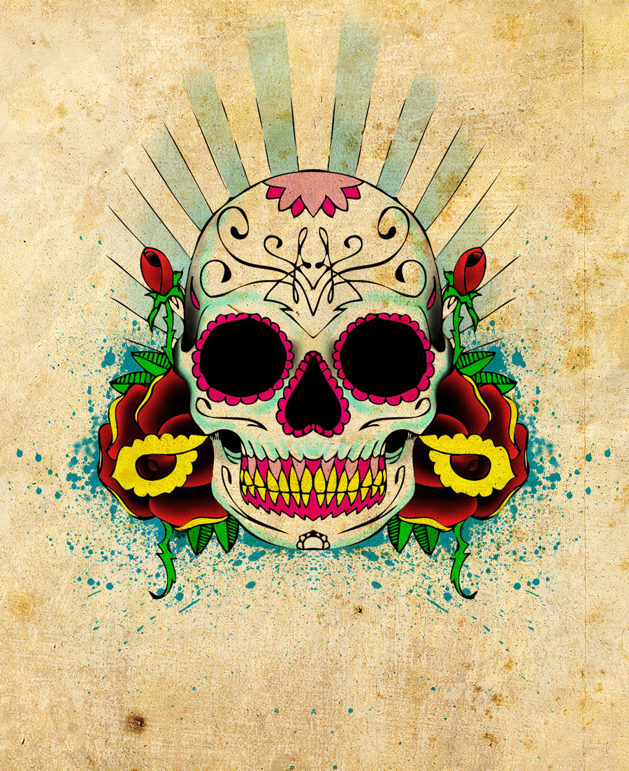 Funny Sugar Skull Vector T-shirt Design |Funny Skull Designs