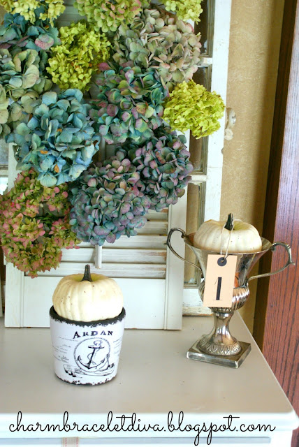 Dried hydrangeas vintage shutter candle white pumpkin