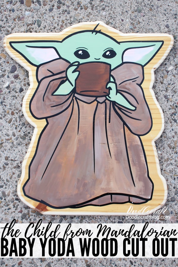 How to make a Baby Yoda from the Mandalorian Disney+ series out of wood. Cut out the wood, add permanent vinyl cut with the Cricut machine, then paint the asset in green, pink and browns. All he needs is Mando to watch over him. Perfect for home decor or Mandalorian Birthday Party decorations.