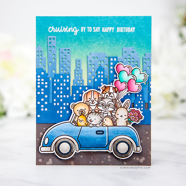 Sunny Studio Stamps: Cruising Critters Cityscape Border Dies Love Monkey Birthday Card by Keeway Tsao