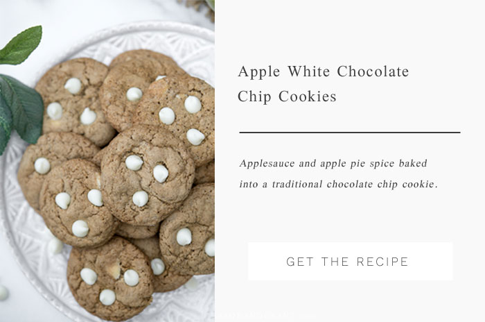 A traditional chocolate chip cookie is given a fall twist with applesauce along with white chocolate chips.