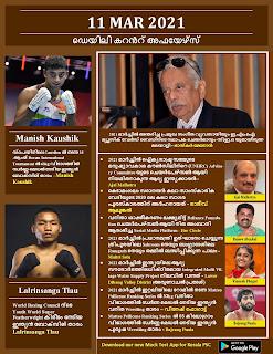Daily Malayalam Current Affairs 11 Mar 2021