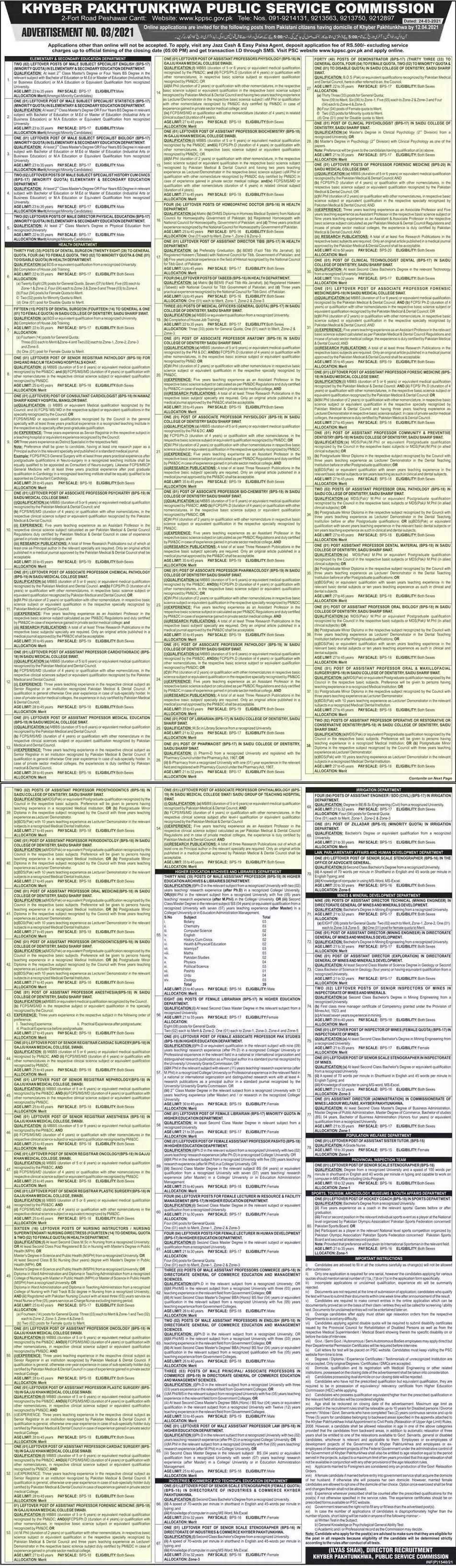 New Jobs in Pakistan PPSC KPK Jobs 2021 | Apply Online