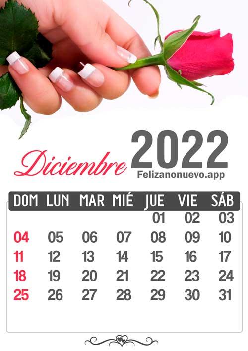 Calendario mes de diciembre 2022 para imprimir