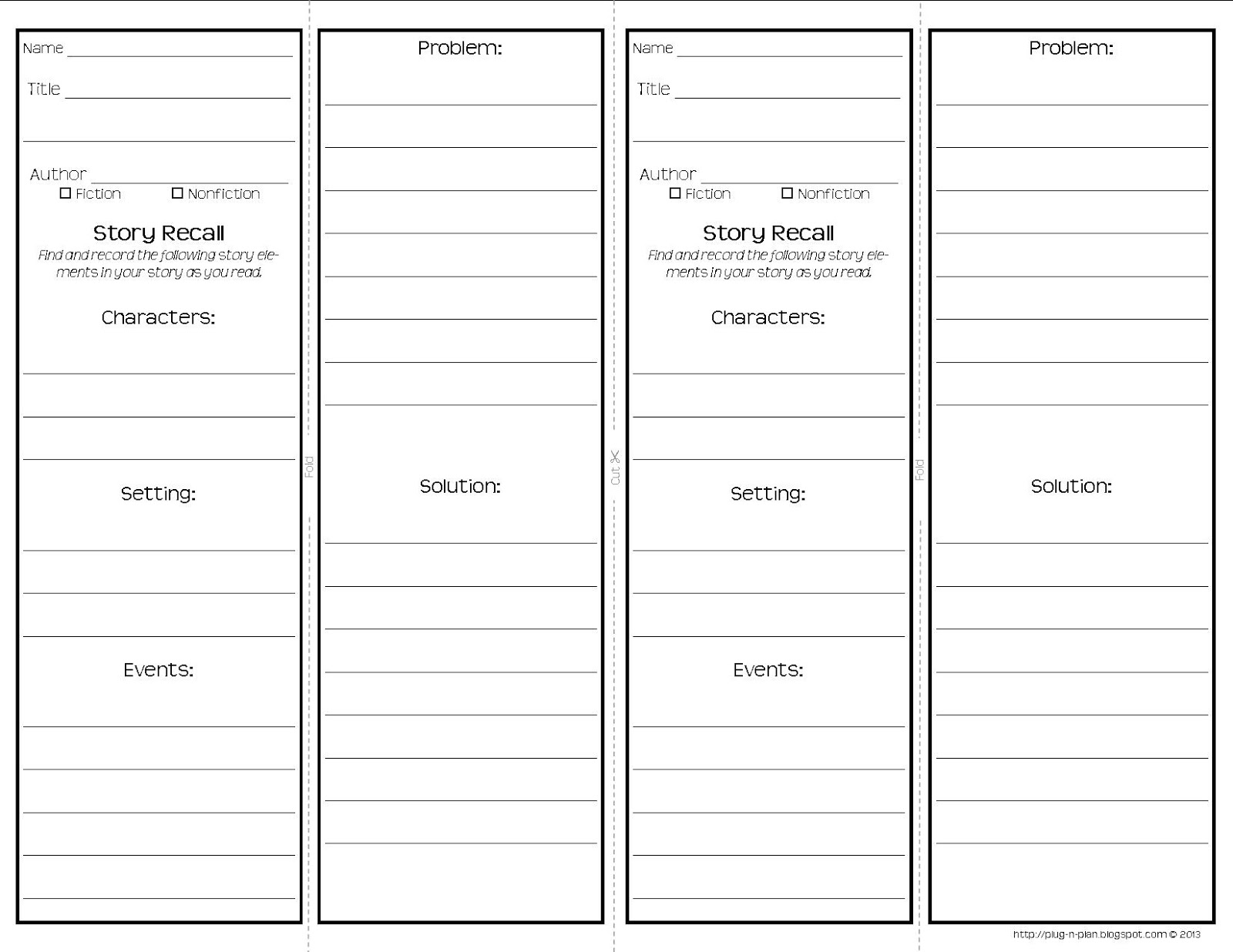 bookmarkers template - plug n plan common core reading response bookmarks
