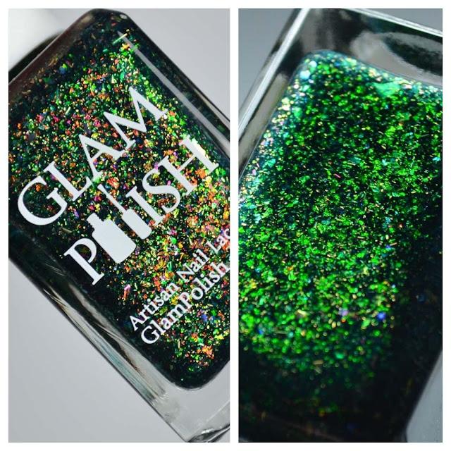 green flakie nail polish in a bottle