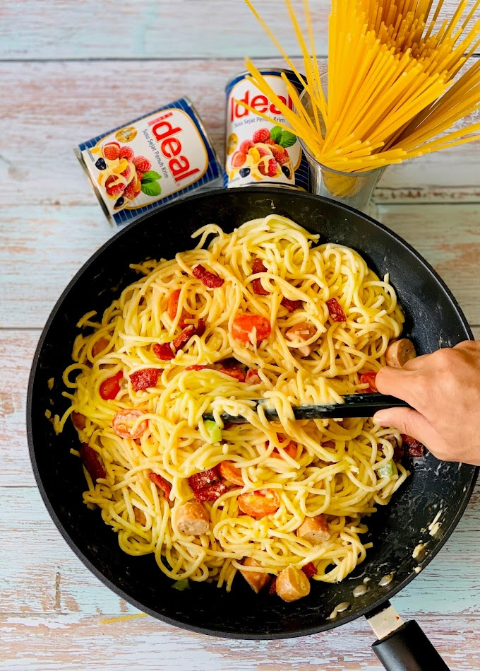 Resepi Spaghetti Carbonara Creamy