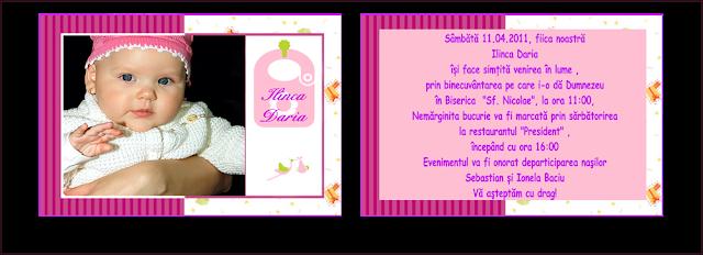 invitatii botez carte postala