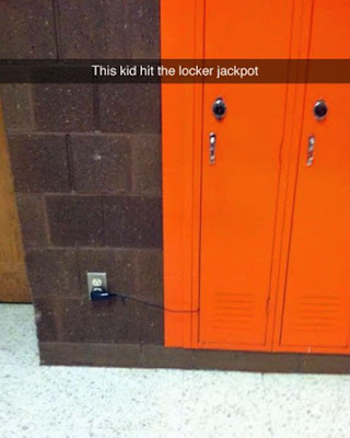 funny lockers, middle school, high school, middle school lockers, junior high lockers, orange locker, tech locker, locker with electrical outlet, locker with docking station, charging devices at school