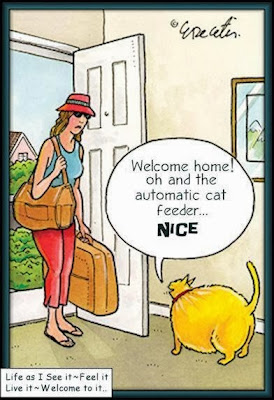 Funny fat overweight cat cartoon image - Welcome home! oh and the automatic cat feeder... nice