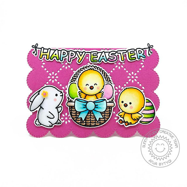 Sunny Studio Stamps: Frilly Frame Dies Chubby Bunny Chickie Baby Spring Themed Card by Anja Bytyqi