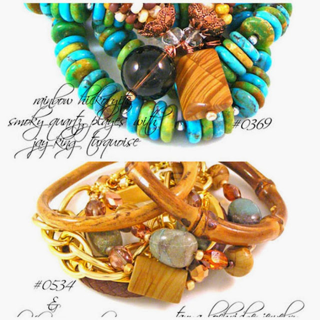 Tanya Lochridge Jewelry Chrysocolla & Rainbow Hickoryite Bead Bracelet