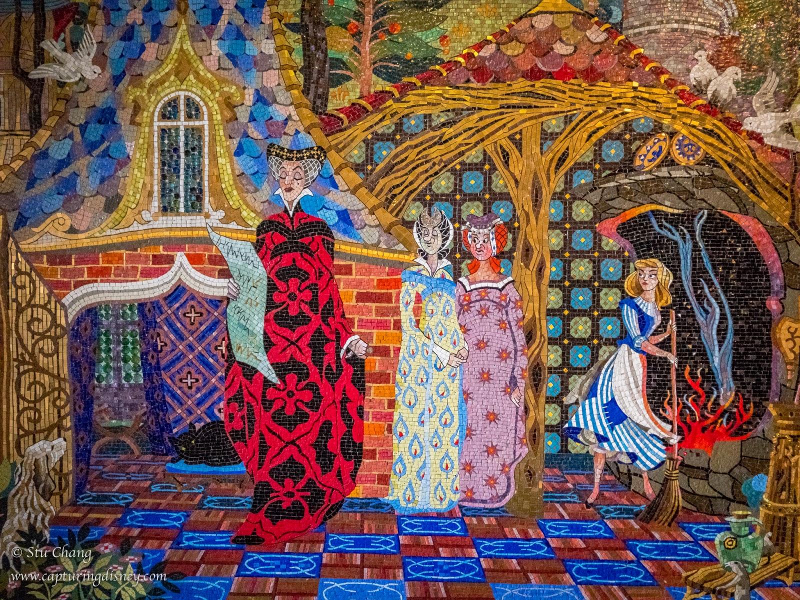 Capturing disney cinderella castle mosaic murals for Disney castle mural