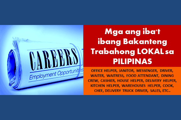 Are you an experienced worker and looking for a job? The following are job vacancies for you. If interested, you may contact the employer/ agency listed below to inquire further or to apply.   LOCAL JOB VACANCIES  1. OFFICE HELPER (JANITOR / MESSENGER) Recruiter: OLE Group Philippines, Inc. Address: National Capital Reg  2. JANITOR / MESSENGER Recruiter: Transman Manpower Services Inc. Address: Makati City (National Capital Reg) Salary: PHP 11,000 - 14,300  3. JANITOR / MESSENGER (CALAMBA LAGUNA) Recruiter: Staff Alliance Inc. Address: Laguna (Calamba City) (Calabarzon & Mimaropa) Salary: PHP 10,000 - 12,000  4. JANITOR / MESSENGER Recruiter: Staff Alliance Inc. Address: Makati City (National Capital Reg) Salary: PHP 10,000 - 14,000  5. JANITOR - JANITRESS Recruiter: Company Confidential Address: National Capital Reg  6. JANITOR STAFF Recruiter: E-HAO ONLINE TRADING CORP. Address: Pasig City (National Capital Reg) - ORTIGAS AREA Salary: PHP 14,000 - 18,200  7. JANITOR-MESSENGER Recruiter: Creationslab Inc. Address: Makati City (National Capital Reg)  8. MESSENGER (DRIVER OR JANITOR) Recruiter: C.T. Onglao Architects Inc. Address: National Capital Reg - 135 Dela Rosa St., cor. Legaspi Makati Salary:  12,500 - 13,000  9. JANITOR / MESSENGER (CEBU CITY) Recruiter: Staff Alliance Inc. Address: National Capital Reg Salary: PHP 7,000 - 8,000  10. FOOD ATTENDANT-WAITER-WAITRESS Recruiter: Steadfast Service Cooperative Address: National Capital Reg 11. DINING CREW ( WAITER, WAITRESS, CASHIER) Recruiter: Jay-J's Food Management, Inc. Address: Pasig City (National Capital Reg), Quezon City (National Capital Reg), Rizal (Antipolo) (Calabarzon & Mimaropa) Salary: PHP 12,000 - 15,600  12. DINING CREW (WAITER,WAITRESS,CASHIER,BANQUET SERVICE ASSISTANT) Recruiter: Powerlane Resources, Inc. Address: National Capital Reg Salary: PHP 12,000 - 15,600  13. HOUSE HELPERS Recruiter: Company Confidential Address: Cebu (Cebu City) (Central Visayas) - LAHUG, CEBU CITY  14. DELIVERY HELPER Recruiter: Maximum Solutions Corporation Address: Caloocan City (National Capital Reg) Salary: PHP 11,000 - 12,500  15. KITCHEN HELPER Recruiter: LUDO BOARDGAME BAR & CAFE Address: National Capital Reg  16. DRIVER / HELPER W / PRO-LICENSE 1, 2 & 3 Recruiter: Globalland Property Management, Inc. Address: National Capital Reg - Pasig  17. APPLY HERE FOR DELIVERY HELPER Recruiter: HR Network Address: National Capital Reg - San Juan  18. OSP HELPER Recruiter: Intele Builders and Development Corporation Address: Quezon City (National Capital Reg)  19. WAREHOUSE HELPER - JARO, ILOILO Recruiter: BACOLOD TRIUMPH HARDWARE Address: Iloilo (Others) (Western Visayas) - Jaro  20. DELIVERY HELPER - JARO, ILOILO Recruiter: BACOLOD TRIUMPH HARDWARE Address: Iloilo (Others) (Western Visayas) - Jaro Salary: PHP 8,411 - 11,800  21. ASSISTANT COOK, KITCHEN HELPER & WAITER / WAITRESS Recruiter: Destileria Limtuaco & Co., Inc. Address: Palawan (Calabarzon & Mimaropa) - Lio Lio Tourism Estate El Nido, Pala  22. PRODUCTION HELPERS-OPERATORS Recruiter: TANN PHILIPPINES, INC. Address: Batangas (Calabarzon & Mimaropa) - Sto. Tomas  23. WAREHOUSE HELPER / PERSONNEL Recruiter: LBP Service Corporation Address: National Capital Reg - Sucat, Paranaque Salary: PHP 12,000 - 13,000  24. CHEF, COMMIS OR KITCHEN HELPER Recruiter: Institute of Culinary Education and Management, Inc. Address: National Capital Reg  25. HELPER (DELIVERY) Recruiter: Globalland Property Management, Inc. Address: National Capital Reg - Pasig  26. DRIVER HELPER( DIRECT HIRING URGENT) Recruiter: Business Staffing and Management Inc. Address: National Capital Reg - Pasig, City, Paco Manila and Quezon, City Salary: PHP 11,000 - 12,000  27. DRIVER / HELPER(CONTRACTUAL) - PASIG(W / PRO LICENSE 123) Recruiter: Globalland Property Management, Inc. Address: National Capital Reg - PASIG  28. KITCHEN HELPERS & STEWARDS Recruiter: The Cravings Group Address: National Capital Reg Salary: PHP 12,000 - 13,000  29. HIRING IN VALENZUELA (DRIVER / MOTORIZED / SALES) Recruiter: Dempsey Resource Management Inc. Address: Caloocan City (National Capital Reg), Malabon City (National Capital Reg), Navotas City (National Capital Reg), Quezon City (National Capital Reg), Valenzuela City (National Capital Reg) Salary: PHP 12,766 - 14,000  30. COMPANY DRIVER Recruiter: Peso Resources Development Corp. (Peso Employment Services) Address: National Capital Reg Salary: PHP 10,000 - 14,000   31. DELIVERY TRUCK DRIVER Recruiter: Confidential Address: Batangas (Calabarzon & Mimaropa) - Tanauan, Batangas Salary: PHP 11,000 - 20,000  32. TRUCK DRIVER-Q.C-ANTIPOLO-BULACAN / DELIVERY DRIVER-VALENZUELA Recruiter: Dempsey Resource Management Inc. Address: National Capital Reg - ANTIPOLO / BULACAN / Q.C / VALENZUELA Salary: PHP 13,000 - 15,000  33. COMPANY DRIVER (CALOOCAN CITY) Recruiter: PJ Lhuillier Group of Companies Address: Caloocan City (National Capital Reg)  34. COMPANY DRIVER Recruiter: High Integrity Global Solutions Inc. Address: Makati City (National Capital Reg) Salary: PHP 12,000 - 13,000  35. COMPANY DRIVER Recruiter: OPPEIN Address: National Capital Reg - Alabang  36. COMPANY DRIVER Recruiter: Wert Philippines, Inc. Address: National Capital Reg - Pandacan, Manila  37. COMPANY DRIVER Recruiter: Company Confidential Address: National Capital Reg - San Juan City Salary: PHP 10,000 - 14,000  38. DRIVER Recruiter: TF LOGISTICS PHILIPPINES INC. Address: Laguna (Sta. Rosa City) (Calabarzon & Mimaropa) - TMP, Sta. Rosa, Laguna Salary: PHP 12,000 - 14,000  39. SKILLED TRUCK DRIVER Recruiter: MGS Corporation Address: National Capital Reg Salary: PHP 13,000 - 16,900  40. DRIVER Recruiter: MC Geometric Proportions, Inc Address: Manila City (National Capital Reg), Muntinlupa City (National Capital Reg) Salary: PHP 12,000 - 12,500  41. DELIVERY TRUCK DRIVER Recruiter: WBE Snappy Logistics Inc. Address: Pasig City (National Capital Reg) - Rosario Salary: PHP 12,000 - 15,000  42. COMPANY DRIVER Recruiter: Tiongco Siao Bello & Associates Law Offices Address: Pasig City (National Capital Reg) - Ortigas Center  43. SERVICE DRIVER Recruiter: Company Confidential Address: National Capital Reg  44. COMPANY DRIVER Recruiter: Gardenia Bakeries (Philippines), Inc. Address: Calabarzon & Mimaropa Salary: PHP 10,000 - 10,500  45. COMPANY DRIVER Recruiter: O.M. Manufacturing Philippines, Inc. Address: Central Luzon - Cavite and Manila Salary:PHP 10,000 - 14,000  46. COMPANY DRIVER (CEBU-BASED) Recruiter: PJ Lhuillier Group of Companies Address: Cebu (Cebu City) (Central Visayas), Cebu (Others) (Central Visayas) Salary: PHP 10,000.00 - 12,000.00  47. CANTER DRIVER (MANDALUYONG BASED) Recruiter: SEAOIL Philippines, Inc. Address: Mandaluyong City (National Capital Reg) - Barangay Namayan  48. WAREHOUSE DRIVER - CALAMBA, LAGUNA Recruiter: LESLIE CORPORATION (Snack Food Division) Address: Calabarzon & Mimaropa, National Capital Reg Salary: PHP 11,000 - 12,000  49. DELIVERY TRUCK DRIVER HELPER Recruiter: Danlex Trucking Corp. Address: Quezon City (National Capital Reg) - QUEZON CITY Salary: PHP 12,000 - 15,000  50. DRIVERS Recruiter: Strategic & Advance Marketing Services Corp. Address: National Capital Reg Salary: PHP 13,000 - 16,900  SOURCE: jobstreet  DISCLAIMER: Thoughtskoto is not affiliated to any of these companies. The information gathered here are verified and gathered from the jobstreet.com website.   SEE MORE:  Jobs with Salary Above 10,000 Pesos in the Philippines  More jobs and opportunities are waiting for you who wants to work in the Philippines. Here are the lists vacancies for different companies, click the job order so that you can apply online.    Job Hiring as Office Staff in Different Companies in the Philippines.  Office job Vacancy. Apply Today & Find Your Perfect Job!  Office job Vacancy. Apply Today & Find Your Perfect Job!    OFFICE JOBS  1. RECEPTIONIST Apply before July 8, 2017 Full time Job level: Fresh Grad / Entry Level Job category: Administration and Coordination Educational requirement: Graduated from college Industry: Retail Industry Vacancy: 1 opening Office Address: Bldg. II, Sunyo Compound, Veterans Center, Taguig, Metro Manila, Philippines  2. OFFICE ADMINISTRATOR Apply before June 9, 2017 Full time Job level: Fresh Grad / Entry Level Job category: Administration and Coordination Educational requirement: Completed associate's degree Industry: Food / Beverages Vacancy: 1 opening Office Address: Manila, Quezon City, Metro Manila, Philippines  3. FRONT OFFICE ASSOCIATE Apply before May 29. 2017 Full time Job level: Associate / Supervisor Job category: Hospitality and Tourism Educational requirement: Graduated from college Industry: Hospitality Vacancy: 3 openings Office Address: Newport Blvd, Pasay, Metro Manila, Philippines  4. OFFICE ASSISTANT Apply before June 27, 2017 Full time Job level: Fresh Grad / Entry Level Job category: Administration and Coordination Educational requirement: Graduated from college Industry: Salon Vacancy: 4 openings Office Address: 1932 Pedro Gil St, San Andres Bukid, Manila, 1017 Metro Manila, Philippines  5. OFFICE BASED EDUCATOR Apply before June 5, 2017 Full time Job level: Fresh Grad / Entry Level Job category: Customer Service Educational requirement: Graduated from college Industry: ESL Vacancy: 50 openings Office Address: 22 Emerald, Pasig, 1609 Metro Manila, Philippines  6. OFFICE BASED ESL INSTRUCTORS Apply before July 26, 2017 Full time Job level: Fresh Grad / Entry Level Job category: Education and Training Educational requirement: Graduated from college Industry: ESL Vacancy:  51 openings Office Address: Pasig, Metro Manila, Philippines  7. FRONT OFFICE MANAGER Apply before July 15, 2017 Full time Job level: Associate / Supervisor Job category: Hospitality and Tourism Educational requirement: Graduated from college Industry: Hospitality Vacancy: 1 opening Office Address: Binondo, Manila, Metro Manila, Philippines  8. ADMIN ASSISTANT | OFFICE CLERK Apply before June 9, 2017 Contractual Job level: Fresh Grad / Entry Level Job category: Administration and Coordination Educational requirement: Graduated from college Industry: Human Resources / HR Vacancy: 10 openings Office Address: 4F Tower 6789, Ayala Avenue,, Makati, Metro Manila, Philippines  9. FRONT OFFICE MANAGER Apply before May 29, 2017 Full time Job level: Mid-Senior Level / Manager Job category: Hospitality and Tourism Educational requirement: Graduated from college Industry: Hospitality Vacancy: 1 opening Office Address: Newport Blvd, Pasay, Metro Manila, Philippines  10. OFFICE BASED MENTORS | KIDS Apply before September 6, 2017 Full time Job level: Fresh Grad / Entry Level Job category: Education and Training Educational requirement: Graduated from college Industry: ESL Vacancy: 1 opening Office Address: Pasig, Metro Manila, Philippines     11. WEB DEVELOPER | OJT  Apply before June 14, 2017 Full time Job level: Internship / OJT Job category: IT and Software Educational requirement: Graduated from high school Industry: Staffing / Recruiting Vacancy: 2 openings Office Address: Strata 100, Emerald Ave, San Antonio, Pasig, Metro Manila, Philippines  12. BANK OFFICE CLERK Apply before May 23, 2017 Contractual Job level: Fresh Grad / Entry Level Job category: Administration and Coordination Educational requirement: Graduated from college Industry: Human Resources / HR Vacancy: 10 openings Office Address: 4F Tower 6789, Ayala Avenue,, Makati, Metro Manila, Philippines  13. OFFICE FIELD ENGINEER Apply before May 30, 2017 Full time Job level: Associate / Supervisor Job category: Architecture and Engineering Educational requirement: Graduated from college Industry: Contractor Vacancy: 1 opening Office Address: #9009 Pio Del Pilar Street, Concepcion 2, Marikina City 1811 (We're beside Water Nymph Resort, Red / Maroon Gate), Marikina, Metro Manila, Philippines  14. OFFICE CLERK | MAKATI, TAGUIG  Apply before June 18, 2017 Contractual Job level: Fresh Grad / Entry Level Job category: Administration and Coordination Educational requirement: Graduated from college Industry: Human Resources / HR Vacancy: 20 openings Office Address: 4F Tower 6789, Ayala Avenue,, Makati, Metro Manila, Philippines  15. CORPORATE OFFICE LEASING MANAGER Apply before July 31, 2017 Full time Job level: Associate / Supervisor Job category: Sales and Marketing Educational requirement: Graduated from college Industry: Commercial Real Estate Vacancy: 1 opening Office Address: Pacific Century Tower, Scout Borromeo Street, Quezon City, NCR, Philippines  16. BANK OFFICE STAFF Apply before October 21, 2017 Contractual Job level: Fresh Grad / Entry Level Job category: Administration and Coordination Educational requirement: Graduated from college Industry: Human Resources / HR Vacancy: 30 openings Office Address: 4F Vicente Madrigal Building,, Ayala Avenue,, Makati, Metro Manila, Philippines  17. FRONT OFFICE REPRESENTATIVE Apply before May 22, 2017 Full time Job level: Associate / Supervisor Job category: Hospitality and Tourism Educational requirement: Graduated from college Industry: Commercial Real Estate Vacancy: 2 openings Office Address: 7F Marajo Tower 312 26th St. corner 4th Avenue Bonifacio Global City Taguig City  18. BANK OFFICE STAFF Apply before June 4, 2017 Contractual Job level: Fresh Grad / Entry Level Job category: Accounting and Finance Educational requirement: Graduated from college Industry: Human Resources / HR Vacancy: 5 openings Office Address: 4F Tower 6789, Ayala Avenue,, Makati, Metro Manila, Philippines  19. FRONT OFFICE MANAGER Apply before June 4, 2017 Full time Job level: Fresh Grad / Entry Level Job category: Management and Consultancy Educational requirement: Graduated from college Industry: Creative and Digital Solutions Vacancy: 1 opening Office Address: Quezon City, Metro Manila, Philippines  20. OFFICE STAFF | BANK Apply before June 11, 2017 Contractual Job level: Fresh Grad / Entry Level Job category: Administration and Coordination Educational requirement: Graduated from college Industry: Human Resources / HR Vacancy: 1 opening Office Address: 4F Tower 6789, Ayala Avenue,, Makati, Metro Manila, Philippines  21. BANK OFFICE STAFF Apply before June 2, 2017 Full time Job level: Fresh Grad / Entry Level Job category: Administration and Coordination Educational requirement: Graduated from college Industry: Human Resources / HR Vacancy: 4 openings Office Address: 4F Tower 6789, Ayala Avenue,, Makati, Metro Manila, Philippines   22. ADMIN SUPERVISOR Apply before May 30, 2017 Full time Job level: Associate / Supervisor Job category: Administration and Coordination Educational requirement: Graduated from college Industry: Construction Vacancy: 1 opening  Office Address: Fort Bonifacio, Taguig, Metro Manila, Philippines  23.BANK OFFICE STAFF | ANGELES, PAMPANGA Apply before July 17, 2017 Full time Job level: Fresh Grad / Entry Level Job category: Accounting and Finance Educational requirement: Graduated from college Industry: Human Resources / HR Vacancy: 1 opening Office Address: 4F Tower 6789, Ayala Avenue,, Makati, Metro Manila, Philippines  24. ONLINE ESL TEACHER | OFFICE BASED | QUEZON CITY  Apply before May 24, 2017 Quezon, Philippines · Full time Job level: Fresh Grad / Entry Level Job category: Education and Training Educational requirement: Graduated from college Industry: Online ESL Vacancy: 20 openings Office Address: West Ave, Quezon City, Metro Manila, Philippines  25. ORDER ENTRY | BACK OFFICE SPECIALIST Apply before June 89, 2017 Salary: 8,000.00 - 24,000.00 PHP / month · Full time Job level: Fresh Grad / Entry Level Job category: Administration and Coordination Educational requirement: Graduated from college Industry:  Marketing / Advertising / Sales Vacancy: 5 openings Office Address: 30th Floor Union Bank Plaza, Meralco Avenue cor Onyx Road Ortigas Center, Pasig, Philippine   26. BANK OFFICE STAFF | MONEY SORTER | LA UNION Apply before July 17, 2017 Full time Job level: Fresh Grad / Entry Level Job category: Administration and Coordination Educational requirement: Graduated from college Industry: Human Resources / HR Vacancy: 1 opening Office Address: 4F Tower 6789, Ayala Avenue,, Makati, Metro Manila, Philippines  27. BANK OFFICE STAFF (MONEY SORTER) | SANTIAGO, ISABELA Apply before July 15, 2017 Full time Job level: Fresh Grad / Entry Level Job category: Accounting and Finance Educational requirement: Graduated from college Industry: Human Resources / HR Vacancy: 1 opening Office Address: 4F Tower 6789, Ayala Avenue,, Makati, Metro Manila, Philippines  28. BANK OFFICE STAFF | MONEY SORTER | LUCENA Apply before July 17, 2017 Full time Job level: Fresh Grad / Entry Level Job category: Administration and Coordination Educational requirement: Graduated from college Industry: Human Resources / HR Vacancy: 1 opening Office Address: 4F Tower 6789, Ayala Avenue,, Makati, Metro Manila, Philippines  29. SALES OFFICE MANAGER Apply before July 30, 2017 Full time Job level: Mid-Senior Level / Manager Job category: Supply Chain Educational requirement: Graduated from college Industry: Food / Beverages Vacancy: 2 openings Office Address: Mc Arthur Highway, Brgy. Sindalan, San Fernando, Central Luzon, Philippines  30. OFFICE ASSISTANT Apply before May 30. 2017 Full time Job level: Fresh Grad / Entry Level Job category: Administration and Coordination Educational requirement: Graduated from college Industry: Media Production Vacancy: 1 opening Office Address: MJB Building, Tomas Morato, Quezon City, Metro Manila, Philippines  31. OFFICE CIVIL ENGINEER / ARCHITECT Apply before August 27, 2017 Salary: 7,000.00 - 22,000.00 PHP / month · Full time Job level: Fresh Grad / Entry Level Job category: Architecture and Engineering Educational requirement: Graduated from college Industry: Construction Office Address: G&A Building, 2303 Pasong Tamo Extension, Makati, Metro Manila, Philippines  32. OFFICE ASSISTANT | RIZAL CHAPTER - MAKATI BRANCH Apply before July 30, 2017 Full time Job level: Fresh Grad / Entry Level Job category: Public Service and NGOs Educational requirement: Graduated from college Industry: Non-Profit / Volunteering Vacancy: 1 opening Office Address: 37 EDSA corner Boni Avenue, Mandaluyong, Metro Manila, Philippines  33. ADMINISTRATIVE ASSISTANT Apply before May 30, 2017 Full time Job level: Fresh Grad / Entry Level Job category: Administration and Coordination Educational requirement: Graduated from college Industry: Marketing / Advertising / Sales Vacancy: 1 opening Office Address: Unit 2203 22nd Floor, Antel 2000 Corporate Centre, Valero St., Salcedo Village, Makati City, Makati, Metro Manila, Philippines  34. EXECUTIVE ASSISTANT Apply before June 14, 2017 Full time Job level: Associate / Supervisor Job category: Administration and Coordination Educational requirement: Graduated from college Industry: Contract Staffing Services Firm Vacancy: 1 opening Office Address: Makati, Metro Manila, Philippines  35. ADMINISTRATIVE ASSISTANT Apply before June 30, 2017 Full time Job level: Associate / Supervisor Job category: Administration and Coordination Educational requirement: Graduated from college Industry: Photography Vacancy: 1 opening  Office Address: One Rockwell West Tower, Rockwell Dr, Makati, Metro Manila, Philippines  36. HR RECRUITMENT COORDINATOR Apply before July 8, 2017 Salary: 5,000.00 - 15,500.00 PHP / month · Full time Job level: Fresh Grad / Entry Level Job category: Human Resources Educational requirement: Graduated from college Industry: Human Resources / HR Vacancy: 3 openings Office Address: 4F Tower 6789, Ayala Avenue,, Makati, Metro Manila, Philippines  37. ADMINISTRATIVE SECRETARY Apply before June 17, 2017 Contractual Job level: Fresh Grad / Entry Level Job category: General Services Educational requirement: Graduated from college Industry: Wholesale Vacancy: 2 openings Office Address: Quezon City, Metro Manila, Philippines  38. EXECUTIVE ASSISTANT Apply before July 1, 2017 Full time Job level: Associate / Supervisor Job category: Administration and Coordination Educational requirement: Graduated from college Industry: Photography Vacancy: 1 opening Office Address: One Rockwell West Tower, Rockwell Drive, Makati, NCR, Philippines  39. INSTALLATION ENGINEER Appy before May 27, 2017 Salary: 12,848.00 - 16,000.00 PHP / month · Full time Job level: Fresh Grad / Entry Level Job category: Architecture and Engineering Educational requirement: Graduated from college Industry: Construction Vacancy: 2 openings Office Address: 7th Floor, Annapolis Wilshire Plaza, No. 11 Annapolis St., Greenhills, San Juan, Metro Manila, Philippines  40. ADMINISTRATIVE ASSISTANT Apply before July 16, 2017 Full time Job level: Fresh Grad / Entry Level Job category: General Services Educational requirement: Graduated from college Industry: Retail Industry Vacancy: 2 openings Office Address: 31st Floor Philamlife Tower, Paseo de Roxas, Makati, Metro Manila, Philippines  41. ADMINISTRATIVE ASSISTANT Apply before July 8, 2017 Full time Job level: Associate / Supervisor Job category: Administration and Coordination Educational requirement: Graduated from college Industry: Cosmetics Vacancy: 2 openings Office Address: Pasay, Metro Manila, Philippines  42. PURCHASING ASSISTANT Apply before June 17, 2017 Job level: Fresh Grad / Entry Level Job category: Administration and Coordination Educational requirement: Graduated from college Industry: Oil / Energy / Solar / Greentech Vacancy: 2 openings Office Address: Uni oil Corporate Office, Unit 2701 27th/F West Tower, Philippine Stock Exchange Center Bldg., Exchange Road, Ortigas, Pasig City, Pasig, Metro Manila, Philippines  43. COMPANY NURSE/RECEPTIONIST Apply July 11, 2017 Full time Job level: Fresh Grad / Entry Level Job category: Health and Medical Educational requirement: Graduated from college Industry: Business Process Outsourcing Vacancy: 1 opening Office Address: No. 146 3rd Floor FRANKFORT Bldg. Pasig Blvd. Bagong Ilog, Pasig City  44. RECEPTIONIST Apply before June 19, 2017 Full time Job level: Fresh Grad / Entry Level Job category: Administration and Coordination Educational requirement: Graduated from college Industry: Coin Laundry Vacancy: 2 openings Office Address: Unit 701 The Infinity Bldg, 26th St., Bonifacio Global City, Taguig, National Capital Region, Philippines  45. ADMINISTRATIVE ASSISTANT Apply before June 16, 2017 Full time Job level: Fresh Grad / Entry Level Job category: Administration and Coordination Educational requirement: Graduated from college Industry: Health and Medical Vacancy: 4 openings Office Address: Cubao, Quezon City, Metro Manila, Philippines  46. BANK OFFICER Apply before June 26, 2917 Contractual Job level: Fresh Grad / Entry Level Job category: Administration and Coordination Educational requirement: Graduated from college Industry: Human Resources / HR Vacancy: 5 openings Office Address: 4F Tower 6789, Ayala Avenue,, Makati, Metro Manila, Philippines  47. LIAISON STAFF Apply before June 14, 2017 Full time Job level: Fresh Grad / Entry Level Job category: Administration and Coordination Educational requirement: Graduated from college Industry: Real Estate / Mortgage Vacancy: 1 opening Office Address: 6776 Ayala Ave, Legazpi Village, Makati, 1229 Metro Manila, Philippines  48. ADMINISTRATIVE ASSISTANT Apply before May 29, 2017 Full time Job level: Mid-Senior Level / Manager Job category: Administration and Coordination Educational requirement: Graduated from college Industry: Pharmaceuticals Vacancy: 2 openings Office Address: Sitio Tanpoco, Brgy. Matatalaib Tarlac City, Philippines  49. SALES COORDINATOR Apply before July 6, 2017 Full time Job level: Fresh Grad / Entry Level Job category: Sales and Marketing Educational requirement: Graduated from high school Industry: Information Communication Technology Vacancy: 1 opening Office Address: 544 Florentino Torres St. Sta. Cruz, Manila, Manila, Metro Manila, Philippines  50. ADMINISTRATIVE ASSISTANT Apply before May 30, 2017 Full time Job level: Fresh Grad / Entry Level Job category: Administration and Coordination Educational requirement: Graduated from college Industry: Marketing / Advertising / Sales Vacancy: 1 opening Office Address: Unit 2203 22nd Floor, Antel 2000 Corporate Centre, Valero St., Salcedo Village, Makati City, Makati, Metro Manila, Philippines  READ MORE:  Different Manager Positions Now Hiring In The Philippines  Are you an experienced for managerial and looking for a job? The following are job vacancies for you. If interested, you may contact the employer/ agency listed below to inquire further or to apply.  Are you an experienced for managerial and looking for a job? The following are job vacancies for you. If interested, you may contact the employer/ agency listed below to inquire further or to apply.   MANAGERIAL JOB VACANCIES  1. IT MANAGER Apply before July 17, 2017 Full time Job level: Mid-Senior Level / Manager Job category: IT and Software Educational requirement: Graduated from college Industry: Paper / Forest Products Vacancy: 1 opening Website: http://www.quantapaper.com.ph Office Address: 149 Rev. Gregorio Aglipay St., Bgy. Old Zaniga, Mandaluyong, Metro Manila, Philippines  2. BRANCH MANAGER | METRO MANILA Apply before June 19, 2017 Full time Job level: Associate / Supervisor Job category: Customer Service Educational requirement: Graduated from college Industry: Grooming Vacancy: 18 openings Website: http://www.brunosbarbers.com Office Address: Exchange Road 1501 West Tower Philippine Stock Exchange Centre, Ortigas Ave, Ortigas, Pasig, 1605 Metro Manila, Philippines  3. HR MANAGER Apply before July 9, 2017 Salary: 50,000.00 - 70,000.00 PHP / month · Full time Job level: Mid-Senior Level / Manager Job category: Human Resources Educational requirement: Graduated from college Industry: Restaurants Vacancy: 1 opening Office Address: 109 Pioneer St, Mandaluyong, 1554 Metro Manila, Philippines  4. ACCOUNTING MANAGER Apply before July 14. 2017 Full time Job level: Mid-Senior Level / Manager Job category: Accounting and Finance Educational requirement: Graduated from college Industry: Retail Industry Vacancy: 1 opening Website: http://www.focusglobalinc.com Office Address: 15/F Twenty-four Seven McKinley Building, 24th St. cor. 7th Ave. McKinley Parkway, Bonifacio Global City, Taguig, Metro Manila, Philippines  5. RETAIL OPERATIONS MANAGER Apply before May 30, 2017 Full time Job level: Mid-Senior Level / Manager Job category: Sales and Marketing Educational requirement: Graduated from college Industry: Oil / Energy / Solar / Greentech Vacancy: 1 opening Website: https://www.unioil.com Office Address: Ortigas Center, Pasig, NCR, Philippines  6. CORPORATE AFFAIRS MANAGER | ORTIGAS, PASIG Apply before July 26, 2017 Salary: 60,000.00 - 150,000.00 PHP / month · Full time Job level: Mid-Senior Level / Manager Job category: Administration and Coordination Educational requirement: Graduated from college Industry: Staffing / Recruiting Vacancy: 2 openings Office Address: Unit 2B Cypress Gardens, Legazpi Village, Makati, Metro Manila, Philippines  7. KEY ACCOUNT MANAGER | CORPRATE AND B2B SALES | MANDALUYONG CITY Apply before May 31, 2017 Full time Job level: Associate / Supervisor Job category: Sales and Marketing Educational requirement: Graduated from college Industry: Staffing / Recruiting Vacancy: 1 opening Office Address: Apo, Mandaluyong, NCR, Philippines  8. QUALITY ASSURANCE| RESEARCH AND DEVELOPMENT (RND) MANAGER Apply before June 16, 2017 Salary: 30,000.00 - 40,000.00 PHP / month · Full time Job level: Mid-Senior Level / Manager Job category: Manufacturing and Production Educational requirement: Graduated from college Industry: Retail/Merchandise Vacancy: 1 opening Website: http://www.midafood.com Office Address: 2219 Singalong St, Malate, Manila, Manila, Metro Manila, Philippines  9. FINANCE MANAGER  Apply before July 16, 2017 Full time Job level: Mid-Senior Level / Manager Job category: Accounting and Finance Educational requirement: Graduated from college Industry: Human Resources / HR Vacancy: 1 opening Website: http://www.teradatrust.com/en/ Office Address: Unit 1503, Liberty Center Bldg., H.V. Dela Costa St., Salcedo Village, Makati City, Makati, Metro Manila, Philippines  10. OPERATIONS MANAGER | FOOD AND BEVERAGE (F&B) Apply before December 30, 2017 Full time Job level: Mid-Senior Level / Manager Job category: Sales and Marketing Educational requirement: Graduated from college Industry: Retail Industry Vacancy: 1 opening Office Address: 36 Meralco Ave, 36 Meralco Ave, Pasig, Metro Manila, Philippines  11. AREA MANAGER Apply before May 25, 2017  Full time Job level: Mid-Senior Level / Manager Job category: Management and Consultancy Educational requirement: Graduated from college Industry: Coin Laundry Vacancy: 5 openings Website: https://www.amoritaresort.com Office Address: Unit 701 The Infinity Bldg, 26th St., Bonifacio Global City, Taguig, National Capital Region, Philippines  12. RETAIL LOYALTY MANAGER Apply before May 30, 2017  Full time Job level: Mid-Senior Level / Manager Job category: Sales and Marketing Educational requirement: Graduated from college Industry: Oil / Energy / Solar / Greentech Vacancy: 1 opening Website: https://www.unioil.com Office Address: Ortigas Center, Pasig, NCR, Philippines  13. STORE MANAGER | FOOD AND BEVERAGE Apply before June 18, 2017 Full time Job level: Associate / Supervisor Job category: Hospitality and Tourism Educational requirement: Graduated from college Industry: Staffing / Recruiting Vacancy: 10 openings Website: http://idcmanpower.com/ Office Address: Libis, Quezon City, NCR, Philippines  14. PROGRAMS MANAGER Apply before July 17, 2017  Full time Job level: Associate / Supervisor Job category: Management and Consultancy Educational requirement: Graduated from college Industry: Retail Industry Vacancy: 1 opening Office Address: 494 Lt. Artiaga, San Juan, NCR, Philippines  15. HUMAN RESOURCES (HR) MANAGER | GENERALIST Apply before May 29, 2017  Full time Job level: Mid-Senior Level / Manager Job category: Human Resources Educational requirement: Graduated from college Industry: HR Consulting Vacancy: 1 opening Website: http://rbt-consulting.com/ Office Address: Makati, Metro Manila, Philippines 16. MEDIA RELATIONS MANAGER  Apply before June 15, 2017 Full time Job level: Mid-Senior Level / Manager Job category: Media and Creatives Educational requirement: Graduated from college Industry: Marketing / Advertising / IMC Vacancy: 1 opening Website: http://www.teamasia.com Office Address: 18th Floor, AEON Center, Northgate Cyberzone, Filinvest Corporate City, Alabang 1781, Muntinlupa City., Muntinlupa, Metro Manila, Philippines  17. HOTEL SALES MANAGER Apply before June 29, 2017  Full time Job level: Mid-Senior Level / Manager Job category: Sales and Marketing Educational requirement: Graduated from college Industry: Executive Search Firm Vacancy: 1 opening Office Address: 6789 Ayala Ave, Makati, 1206 Metro Manila, Philippines  18. HUMAN RESOURCES (HR) ACCOUNT MANAGER Apply before Decemeber 30, 2017 Full time Job level: Mid-Senior Level / Manager Job category: Human Resources Educational requirement: Graduated from college Industry: Entertainment / Movie Production Website: http://corporate.abs-cbn.com/careers/ Office Address: ABS-CBN Mother Ignacia Street, Sgt. E.A. Esguerra Avenue Corner, Quezon City 1100 Metro Manila, Quezon, Metro Manila, Philippines  19. DISTRICT SALES MANAGER | SOUTH LUZON Apply before July 29, 2017 Full time Job level: Fresh Grad / Entry Level Job category: Sales and Marketing Educational requirement: Graduated from college Office Address: Ortigas Center, Pasig, Metro Manila, Philippines Industry: Executive Search Firm Vacancy: 2 openings Office Address: Ortigas Center, Pasig, Metro Manila, Philippines  20. REGIONAL SALES MANAGER | SOUTH LUZON Apply before June 29, 2017  Full time Job level: Fresh Grad / Entry Level Job category: Sales and Marketing Educational requirement: Graduated from college Industry: Executive Search Firm Vacancy: 2 openings Office Address: Laguna, Philippines  21. TRADE MARKETING MANAGER | ALABANG Aapply before may 30, 2017 Salary: 100,000.00 - 120,000.00 PHP / month · Full time Job level: Mid-Senior Level / Manager Job category: Sales and Marketing Educational requirement: Graduated from college Industry: Staffing / Recruiting Vacancy: 2 openings Office Address: Alabang, Muntinlupa, Metro Manila, Philippines  22. ASSOC. DIGITAL BRAND MARKETING MANAGER | F&B OR RETAIL Apply before July 8, 2017  Full time Job level: Associate / Supervisor Job category: Media and Creatives Educational requirement: Graduated from college Philippines Industry: Staffing / Recruiting Vacancy: 1 opening Website: http://idcmanpower.com/ Office Address: Suite 1004, The Infinity Tower,, 26th Street, Bonifacio Global City, Taguig, Metro Manila,  23. MARKETING MANAGER Apply before December 30, 2017 Full time Job level: Associate / Supervisor Job category: Sales and Marketing Educational requirement: Graduated from college Industry: Retail Industry Office Address: 36 Meralco Ave, Ortigas Center, Pasig, Metro Manila, Philippines  24. DEPARTMENT MANAGER | MEDICAL SOCIAL SERVICE Apply before July 25, 2017  Full time Job level: Mid-Senior Level / Manager Job category: Health and Medical Educational requirement: Graduated from college Industry: Hospital / Health Care Vacancy: 1 opening Website: http://www.stluke.com.ph Office Address: 279 E Rodriguez Sr. Ave, Quezon City, 1112 Metro Manila, Philippines  25. BUSINESS DEVELOPMENT MANAGER | DAVAO Apply before July 31, 2017  Full time Job level: Mid-Senior Level / Manager Job category: Sales and Marketing Educational requirement: Graduated from college Industry: Commercial Real Estate Vacancy: 1 opening Website: http://www.primephilippines.com Office Address: Davao City, Davao del Sur, Philippines  26. SALES AND ADMIN MANAGER Apply before June 29, 2017 Full time Job level: Mid-Senior Level / Manager Job category: Sales and Marketing Educational requirement: Graduated from college Industry: Executive Search Firm Vacancy: 2 openings Office Address: Cebu City, Cebu, Philippines  27. SALES DIRECTOR | SENIOR MANAGER LEVEL Apply before July 15, 2017 Full time Job level: Fresh Grad / Entry Level Job category: Sales and Marketing Educational requirement: Graduated from college Industry: Human Resources / HR Vacancy: 1 opening Website: http://www.icrescere.com Office Address: Sucat, Muntinlupa, NCR, Philippines  28. CUSTOMER SERVICE MANAGER Apply before May 28, 2017 Full time Job level: Mid-Senior Level / Manager Job category: Customer Service Educational requirement: Graduated from college Industry: Real Estate Development Vacancy: 1 opening Website: http://www.8990holdings.com/ Office Address: Elpidio Quirino Ave, Davao City, Davao del Sur, Philippines  29. TRADE MARKETING MANAGER | CEBU Apply before May 30, 2017 Salary: 100,000.00 - 130,000.00 PHP / month · Full time Job level Mid-Senior Level / Manager Job category: Sales and Marketing Educational requirement: Graduated from college Industry: Staffing / Recruiting Vacancy: 2 openings Office Address: Cebu City, Cebu, Philippines  30. CORPORATE AFFAIRS MANAGER | ORTIGAS, PASIG Apply before July 26, 2017 Salary: 60,000.00 - 150,000.00 PHP / month · Full time Job level: Mid-Senior Level / Manager Job category: Administration and Coordination Educational requirement: Graduated from college Industry: Staffing / Recruiting Vacancy: 2 openings Office Address: Unit 2B Cypress Gardens, Legazpi Village, Makati, Metro Manila, Philippines  31. AREA OPERATIONS MANAGER Apply before June 29, 2017  Full time Job level: Mid-Senior Level / Manager Job category: Accounting and Finance Educational requirement: Graduated from college Industry: Executive Search Firm Vacancy: 2 openings Office Address: Iloilo City, Iloilo, Philippines  32. DISTRICT SALES MANAGER | MANILA Apply before June 29, 2017 Full time Job level: Fresh Grad / Entry Level Job category: Sales and Marketing Educational requirement: Graduated from college Industry: Executive Search Firm Vacancy: 2 openings Office Address: Ortigas Center, Pasig, Metro Manila, Philippines  33. DEPARTMENT MANAGER | FOOD AND NUTRITION Apply before Decemeber 24, 2017  Full time Job level: Mid-Senior Level / Manager Job category: General Services Educational requirement: Completed associate's degree Industry: Hospital / Health Care Vacancy: 1 opening Website: http://www.stluke.com.ph Office Address: 279 E Rodriguez Sr. Ave, Quezon City, 1112 Metro Manila, Philippines  34. TREASURY MANAGER | LOANS MANAGEMENT Apply before July 8, 2017 Full time Job level: Mid-Senior Level / Manager Job category: Accounting and Finance Educational requirement: Graduated from college Industry: Real Estate / Mortgage Vacancy: 1 opening Website: http://www.smdc.com Office Address: 12th Floor, Tower B, Two E-com Center, Mall of Asia Complex, Pasay, Metro Manila, Philippines  34. BRAND MANAGER Apply before June 18, 2017 Full time Job level: Mid-Senior Level / Manager Job category: Sales and Marketing Educational requirement: Graduated from college Industry: Restaurants Vacancy: 1 openingOffice  Address: 12th Floor Agustin 1 Bldg. F. Ortigas Jr. Avenue Ortigas Center, Pasig, Metro Manila, Philippines  35. KEY ACCOUNT MANAGER | ALABANG, MUNTINLUPA Apply before May 30, 2017  Full time Job level: Mid-Senior Level / Manager Job category: Sales and Marketing Educational requirement: Graduated from college Industry: Staffing / Recruiting Vacancy: 2 openings Office Address: Alabang, Muntinlupa, Metro Manila, Philippines   36. MARKETING MANAGER Apply before December 30, 2017 Full time Job level: Associate / Supervisor Job category: Sales and Marketing Educational requirement: Graduated from college Office Address: Pasig, Metro Manila, Philippines  37. PURCHASING MANAGER | FOOD AND BEVERAGE Apply before July 21, 2017 Full time Job level: Mid-Senior Level / Manager Job category: Supply Chain Educational requirement: Graduated from college Industry: Staffing / Recruiting Vacancy: 1 opening Website: http://idcmanpower.com/ Office Address: 108 E Rodriguez Sr. Ave, New Manila, Quezon City, Metro Manila, Philippines  38. BANCASSURANCE SALES MANAGER | BINONDO Apply before June 14, 2017 Full time Job level: Mid-Senior Level / Manager Job category: Sales and Marketing Educational requirement: Graduated from college Industry:Insurance Vacancy: 1 opening Website: https://www.axa.com.ph/ Office Address: Binondo, Manila, Metro Manila, Philippines  39. RECRUITMENT MANAGER Apply before June 16, 2017 Full time Job level: Mid-Senior Level / Manager Job category: Human Resources Educational requirement: Graduated from college Industry: Staffing / Recruiting Vacancy: 1 opening Website: http://www.nationwidetherapygroup.com Office Address: Fort Bonifacio, Taguig, Metro Manila, Philippines  40. PRODUCTION MANAGER Apply before June 9, 2017 Salary: 50,000.00 - 60,000.00 PHP / month · Full time Job level: Mid-Senior Level / Manager Job category: Manufacturing and Production Educational requirement: Graduated from college Industry: Manufacturing Vacancy: 1 opening Website: http://www.artnature.co.jp/ir/english/aboutus/ Office Address: Lot 2 1st Street First Philippine Industrial Park, Sto.Tomas, Batangas, Batangas, CALABARZON, Philippines  41. REGIONAL SALES MANAGER | VISAYAS Apply before June 29, 2017 Full time Job level: Fresh Grad / Entry Level Job category: Sales and Marketing Educational requirement: Graduated from college Industry: Executive Search Firm Vacancy: 2 openings Office Address: Visayas, Philippines  42. HR MANAGER | OPTIMIZATION AND CULTURE  Apply before June 5, 2017  Full time Job level: Mid-Senior Level / Manager Job category: Human Resources Educational requirement: Graduated from college Industry: Oil / Energy / Solar / Greentech Vacancy: 1 opening Website: http://careers.aboitiz.com Office Address: Ermita, Cebu City, Cebu, Philippines  43. REGIONAL DEMAND PLANNING MANAGER Apply before May 30. 2017  Full time Job level: Mid-Senior Level / Manager Job category: Supply Chain Educational requirement: Graduated from college Industry: Retail Industry Vacancy: 1 opening Website: http://www.primergrp.com/ Office Address: Primer Star Center, 2282 Leon Guinto Street, Malate, Manila City, 1004, Metro Manila, Philippines  44. OPERATIONS MANAGER Apply before July 9, 2017  Full time Job level: Mid-Senior Level / Manager Job category: Media and Creatives Educational requirement: Graduated from college Industry: Marketing / Advertising / Sales Vacancy: 1 opening Website: http://www.branders.com Office Address: 30th Floor Union Bank Plaza, Meralco Avenue cor Onyx Road Ortigas Center, Pasig, Philippines  45. INTERNAL AUDIT MANAGER Apply May 28, 2017 Full time Job level: Mid-Senior Level / Manager Job category: Architecture and Engineering Educational requirement: Graduated from college Industry: Other Industry Vacancy: 1 opening Office Address: 2281 Chino Roces Ave, Makati, Metro Manila, Philippines  46. ACCOUNTING MANAGER Apply before May 26, 2017  Full time Job level: Mid-Senior Level / Manager Job category: Accounting and Finance Educational requirement: Graduated from college Industry: Financial Services Vacancy: 3 openings Office Address: Unit 3308 33rd floor, One Corporate Center, Julia Vargas corner Meralco Avenue, Ortigas, Pasig, Metro Manila, Philippines  47. SALES MANAGER  Apply before June 18, 2017 Full time Job level: Mid-Senior Level / Manager Job category: Sales and Marketing Educational requirement: Graduated from college Industry: Retail Industry Vacancy: 1 opening Website: http://www.focusglobalinc.com Office Address: 15/F Twenty-four Seven McKinley Building, 24th St. cor. 7th Ave. McKinley Parkway, Bonifacio Global City, Taguig, Metro Manila, Philippines  48. RESTAURANT MANAGER Apply before May 28, 2017 Full time Job level: Mid-Senior Level / Manager Job category: Hospitality and Tourism Educational requirement: Graduated from college Industry: Food / Beverages Vacancy: 3 openings Website: http://amici.ph Office Address: Greenhills, San Juan, Metro Manila, Philippines  49. FINANCE MANAGER Apply before September 5, 2017 Full time Job level: Mid-Senior Level / Manager Job category: Accounting and Finance Educational requirement: Graduated from college Industry: Executive Search Firm Vacancy: 1 opening Office Address: 4F Vicente Madrigal Bldg., Ayala Avenue, Makati, Metro Manila, Philippines  50. RETAIL LEASING MANAGER Apply before August 1, 2017 Full time Job level: Mid-Senior Level / Manager Job category: Sales and Marketing Educational requirement: Graduated from college Industry: Commercial Real Estate Vacancy: 1 opening Website: http://www.primephilippines.com Office Address: Pacific Century Tower, Quezon Ave, Diliman, Lungsod Quezon, Kalakhang Maynila, Philippines  51. FINANCE AND ACCOUNTING MANAGER Apply before July 22, 2017 Full time Job level: Mid-Senior Level / Manager Job category: Accounting and Finance Educational requirement: Graduated from college Industry: Manufacturing Vacancy: 2 openings Website: http://www.artnature.co.jp/ir/english/aboutus/ Office Address: Lot 2 1st Street First Philippine Industrial Park, Sto.Tomas, Batangas, Batangas City, CALABARZON, Philippines  52. BRAND AND BUSINESS MANAGER Apply before October 19, 2017  Full time Job level: Mid-Senior Level / Manager Job category: Sales and Marketing Educational requirement: Graduated from college Industry: Retail Industry Vacancy: 1 opening Website: http://www.focusglobalinc.com Office Address: 15/F Twenty-four Seven McKinley Building, 24th St. cor. 7th Ave. McKinley Parkway, Bonifacio Global City, Taguig, Metro Manila, Philippines  53. RETAIL GENERAL MANAGER Apply before May 30, 2017  Full time Job level: Director / Executive Job category: Management and Consultancy Educational requirement: Graduated from college Industry: Oil / Energy / Solar / Greentech Vacancy: 1 opening Website: https://www.unioil.com Office Address: Unioil Corporate Office, Unit 2701 27th/F West Tower, Philippine Stock Exchange Center Bldg., Exchange Road, Ortigas, Pasig City, Pasig, Metro Manila, Philippines  54. FINANCE MANAGER Apply before June 13, 2017  Full time Job level: Mid-Senior Level / Manager Job category: Accounting and Finance Educational requirement: Graduated from college Industry: Automotive Vacancy: 1 opening Office Address: 1197 Azure Business Center EDSA, Muῆoz Quezon City., Quezon City, Metro Manila, Philippines  55. BRAND MANAGER Apply before August 24, 2017 Full time Job level: Mid-Senior Level / Manager Job category: Sales and Marketing Educational requirement: Graduated from college Industry: Retail Industry Vacancy: 2 openings Website: http://www.primergrp.com/ Office Address: Primer Star Center, 2282 Leon Guinto Street, Malate, Manila 1004 Philippines, Manila, Metro Manila, Philippines  SOURCE: kalibrr  Disclaimer: Thoughtskoto is not is not affiliated to any of these companies. The information gathered here are verified and gathered from the kalibrr website.