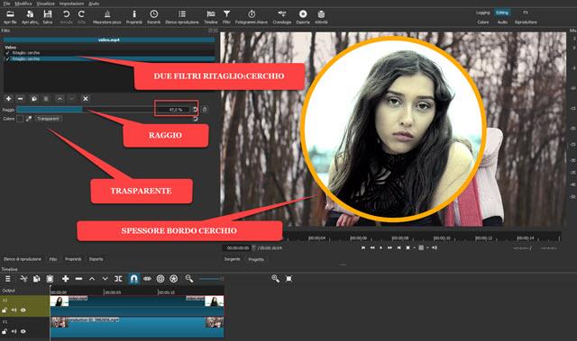 regolare lo spessore del bordo del video circolare