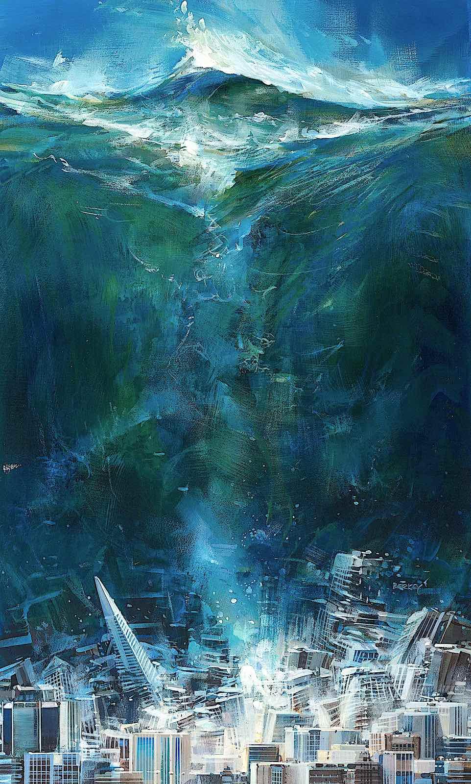 a John Berkey illustration of a giant tsunami hitting a big city