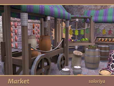 Market Рынок для The Sims 4 В этом наборе есть все для вашего рынка. В набор входит 19 предметов: - телега - овощи - фрукты - виноград - капуста - колбасы - сушеные травы - два типа кувшинов - сушилка с шкурой животного - корзина с семенами - большие и маленькие мешки - стол с ковром - стойло с рыбой - простой ларек - стойло с палаткой - палатка - бочка Автор: soloriyahttps://www.thesimsresource.com/artists/soloriya/downloads/details/category/sims4-sets-objects-miscellaneous/title/market/id/1374764/