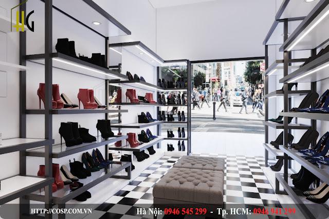 thiết kế cửa hàng giày dép châu âu