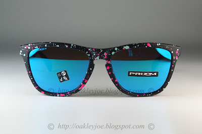 3be560f0b1 OO9013-F055 Frogskins Splatterfade Collection black pink + prizm sapphire  iridium  190 lens pre coated with Oakley hydrophobic nano solution